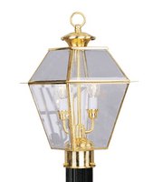 Outdoor Post 2 Light With Clear Beveled Glass Polished Brass Finish size 17 in 120 Watts - World of Crystal