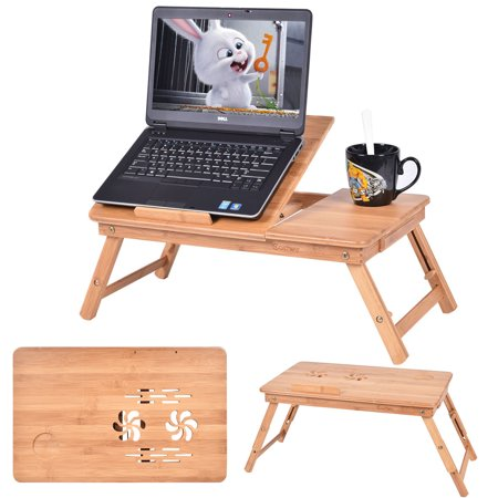 Costway Portable Bamboo Laptop Desk Table Folding Breakfast Bed Serving Tray w/ Drawer Lap Desk Table