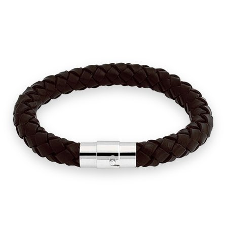 Brown Leather Cord Bracelet - Brown Braided 8mm Leather Cord Bracelet 8in Stainless Steel