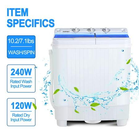 KUPPET Portable Washing Machine, 17lbs Compact Twin Tub ...