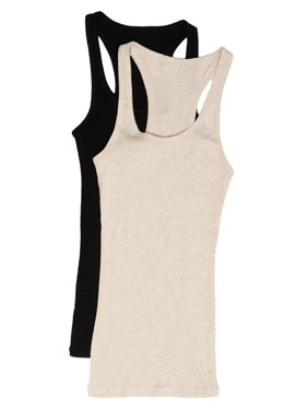 Women's & Juniors Ribbed Cami Racerback Workout Tank Top - 2 Pack