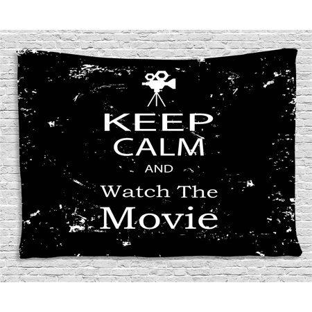 Keep Calm Tapestry, Watch the Movie Quote for Film Buffs Grungy Weathered Backdrop with Old Camera, Wall Hanging for Bedroom Living Room Dorm Decor, 60W X 40L Inches, Black White, by Ambesonne