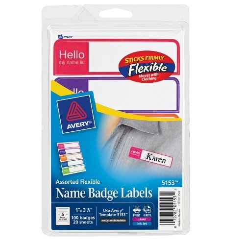 "Avery Name Badge Label - 2.34"" Width X 3.37"" Length - 100 / Pack - Rectangle - Laser, Inkjet - Assorted (AVE5153)"