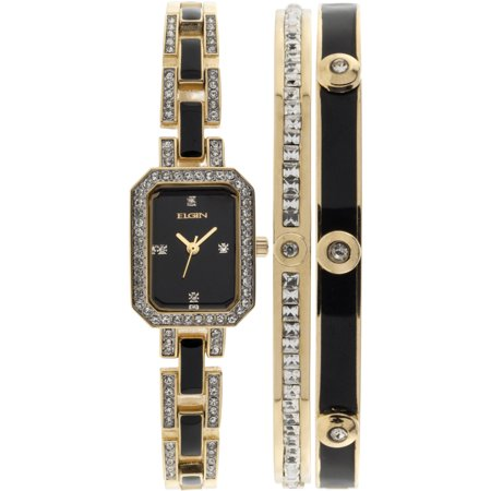 Women's Black- and Gold-Tone Black Dial Crystal Accented Bracelet Watch Set Dial Bracelet Watch Set