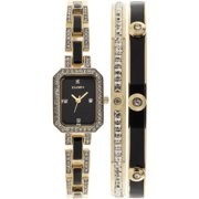 Women's Black- and Gold-Tone Black Dial Crystal Accented Bracelet Watch Set