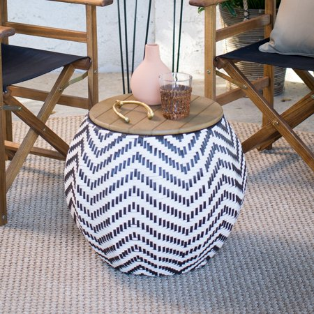 Belham Living Mayotte Chevron Aluminum Wicker Outdoor Storage Table (Chevron Table)