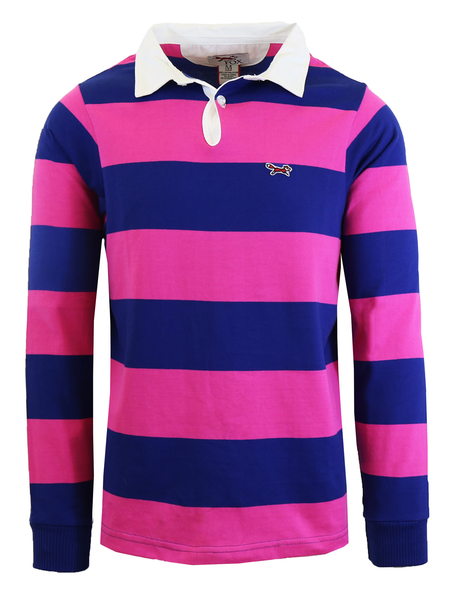 Mens Long Sleeve Cotton Striped Fitted Polo Shirts