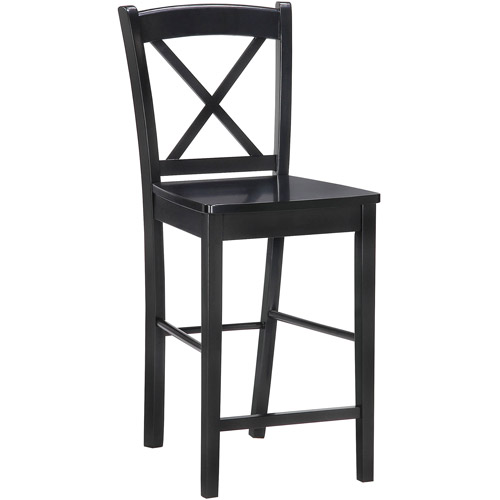 Linon X Back Stool, Rich Black Espresso Finish, 30 inch Seat Height