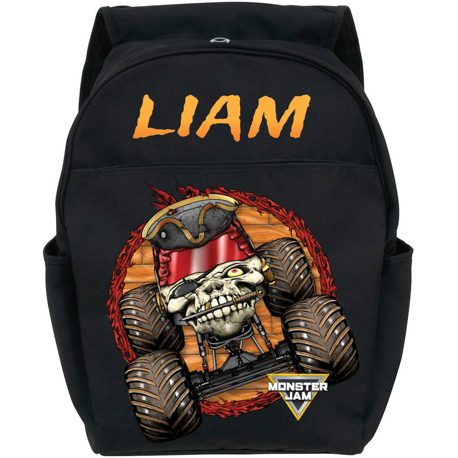 Personalized Monster Jam Pirate's Curse Black Youth Backpack, Black