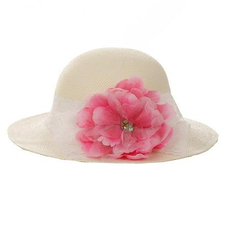 Kids Dream Girls Straw Fuchsia Detachable Flower Lace Adorned Summer Hat 21