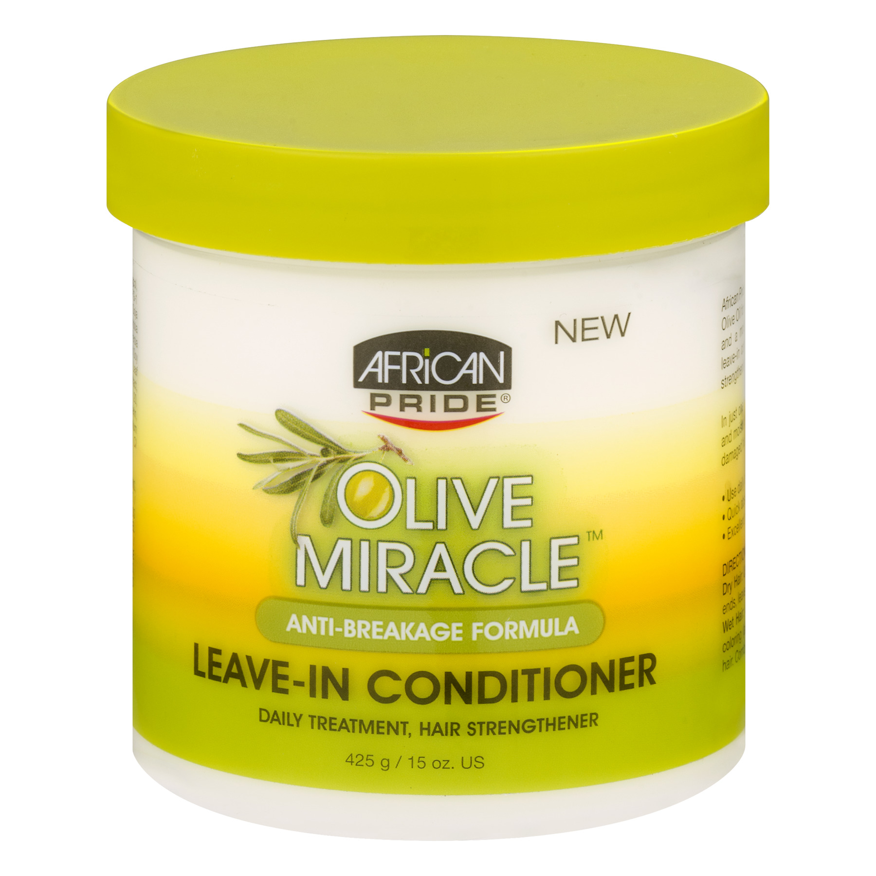 African Pride Olive Miracle Anti-Breakage Formula Leave-In Conditioner 15  oz  Jar