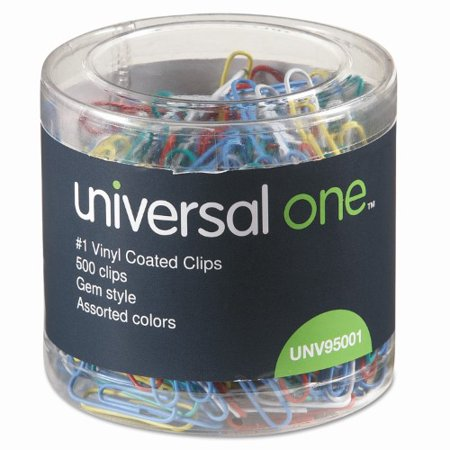 Universal One Vinyl-Coated Wire Paper Clips, No. 1, Assorted Colors, 500 (Coloured Paper Clips)