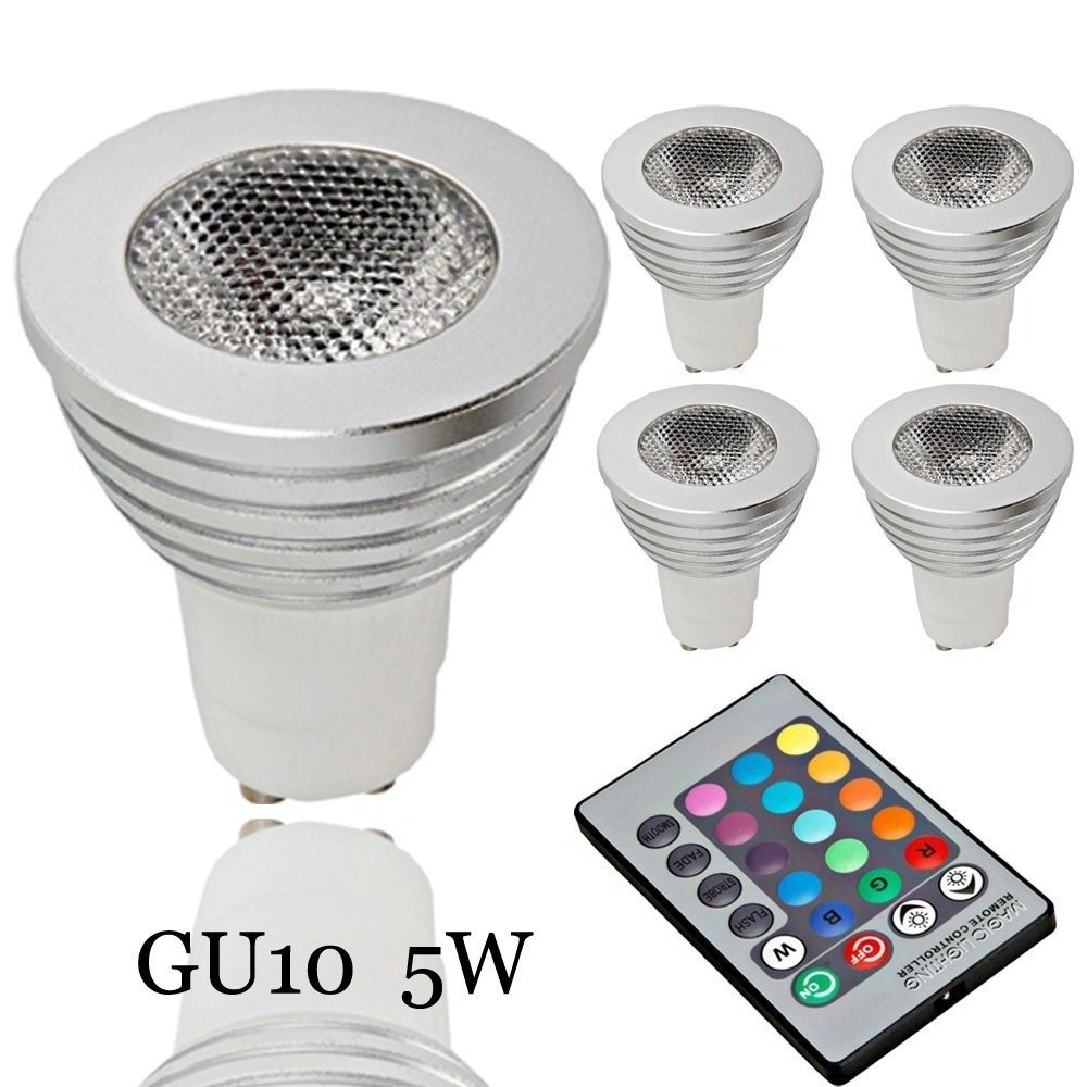 Zimtown 5-Pack Dimmable GU10 LED Light Bulbs,5W 85~265V RGB Color Changing Spotlight with IR Remote Control Mood Ambiance Lighting for Home Decoration, Bar, Party