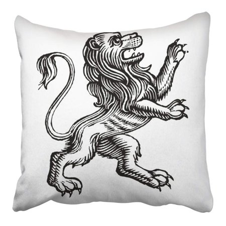 ARHOME Lion Detailed Easy to Scale and Change Colors Crest Vintage Royal Medieval Arms Pillowcase Cushion Cover 16x16 inch (Medieval Crest)