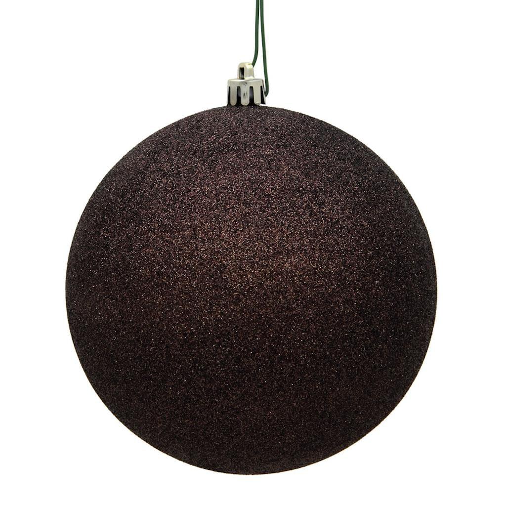 "2.75"" Chocolate Glitter Ball Drilled 12/"