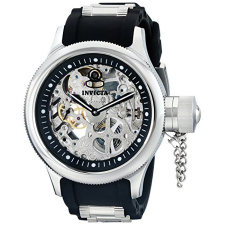 Invicta Men's Russian Diver Black Polyurethane and SS Skeletonized Dial