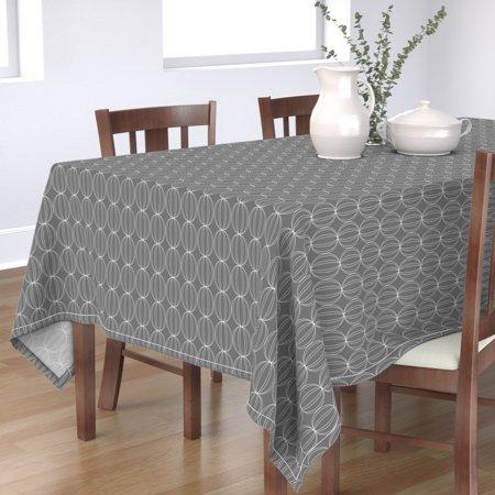 Image of Tablecloth Geometric Mid-Century Grey White Circles Homedecor Cotton Sateen