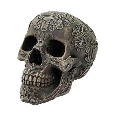 Aztec Skull Collectible Tabletop Decorative Accent Figurine 5 Inch - Decorative Arch
