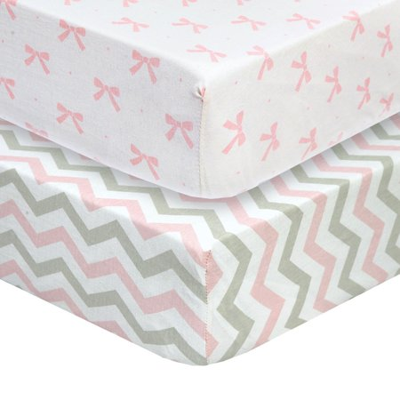 Cuddly Cubs Premium Jersey Crib Sheets, Gentle on Baby Skin and Extra Soft for a Sound Sleep! Fitted and Stretchy, NO Struggle to Get on the Mattress. Cute Chevron and Bow Pattern in Pink and