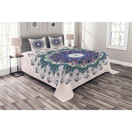 Mandala Bedspread Set, Rich Colorful and Artistic Round with Peacock Feathers and Swirling Leafy Lines, Decorative Quilted Coverlet Set with Pillow Shams Included, Multicolor, by Ambesonne