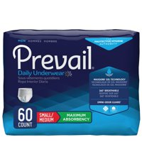 Prevail Maximum Absorbency Incontinence Underwear for Men, Small/Medium, 60 Count