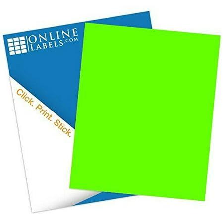 Online Labels - Fluorescent Green Sticker Paper - 100 Sheets - 8 5