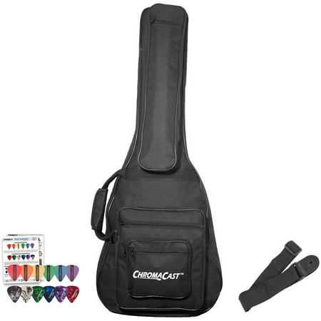 - ChromaCast Acoustic 3/4 Size Guitar Soft Case, Padded Gig Bag, Includes Strap & Picks