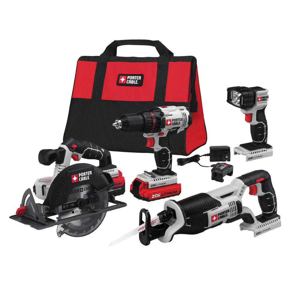 Porter-Cable PCCK614L4 20V MAX Lithium-Ion 4-Tool Combo Kit by BLACK & DECKER/PORTER