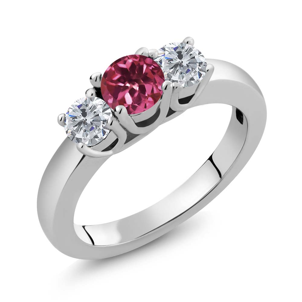 1.00 Ct Round Pink Tourmaline G H Diamond 925 Sterling Silver Ring by