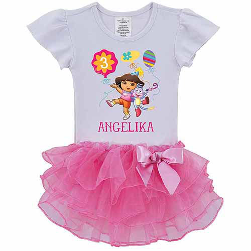 Personalized Dora the Explorer Birthday Balloons Toddler Girl Tutu Tee