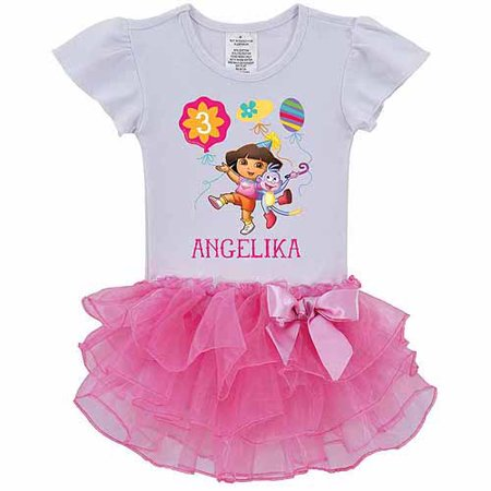 Dora the Explorer Personalized Birthday Balloons Toddler Girl Tutu Tee