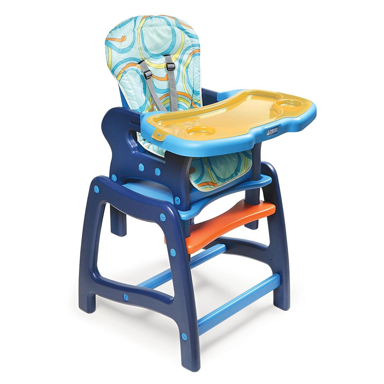 Badger Basket Envee Baby High Chair with Playtable Conversion, Orange Blue by Badger Basket