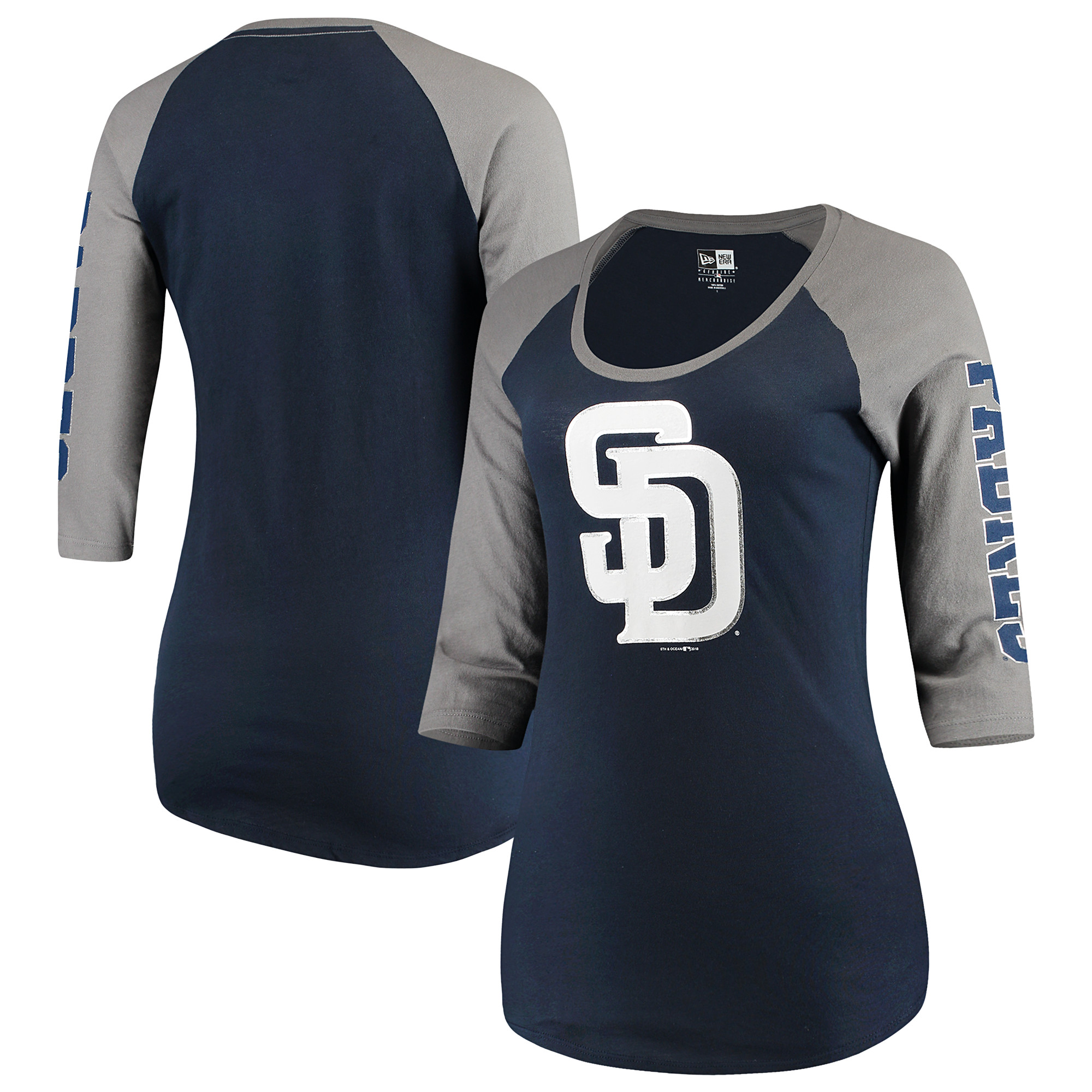 San Diego Padres 5th & Ocean by New Era Women's Foil 3/4-Sleeve T-Shirt - Navy/Gray