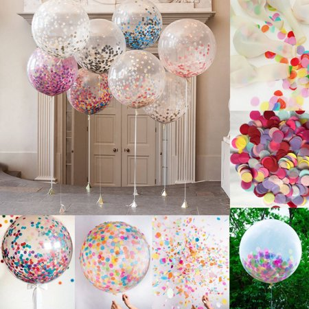 5Pcs 36 Inch Clear Latex Confetti Balloons Wedding Birthday Party Decoration SPECIAL TODAY ! (36 Inch Latex Balloon Peach)