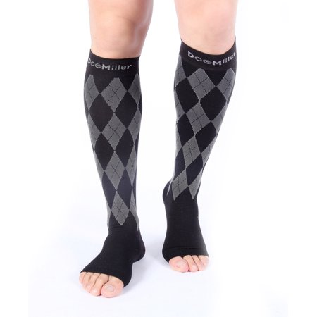 full range of specifications perfect quality new appearance Doc Miller Premium Open Toe Compression Socks 1 Pair 20-30mmHg Knee High  Support Stockings Recovery Venous Insufficiency Circulation Varicose Spider  ...