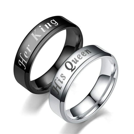 Ginger Lyne Collection Her King Black or His Queen Titanium Steel Matching Wedding Band