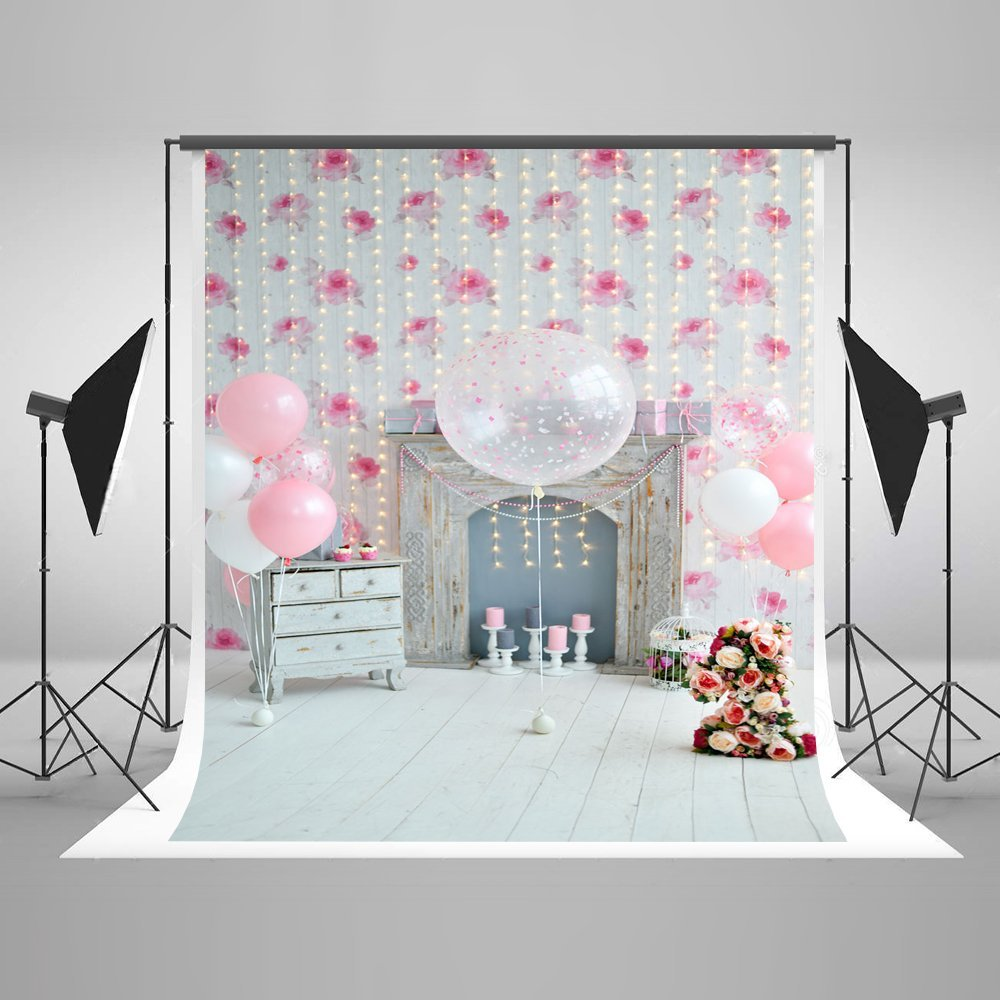 Background Colorful Room: GreenDecor Polyster 5x7ft Happy Birthday Party Photography
