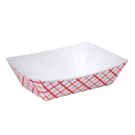 A World Of Deals #25 Paperboard Red Check Food Tray, 1/4-lb Capacity, 250 - Halloween Food Deals