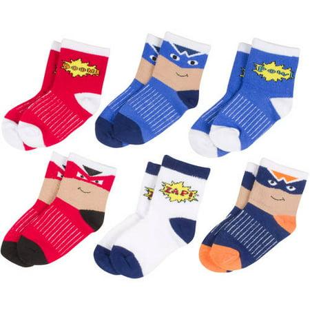 Peds Newborn to Baby Toddler Boys Growing Socks, 6 Pairs, Sizes NB-5T