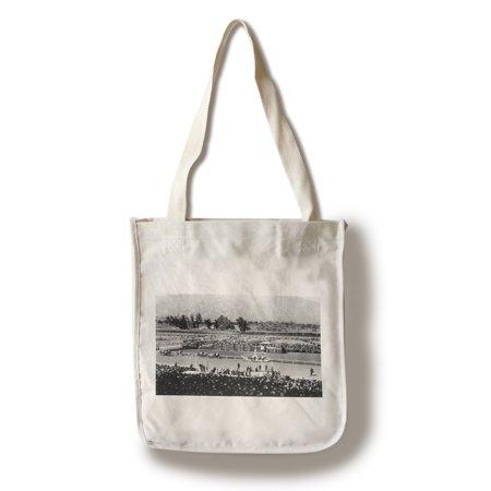 - Los Angeles, California - The Home Stretch at Santa Anita Track (100% Cotton Tote Bag - Reusable)