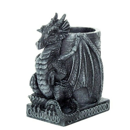 4.5 Inch Medieval Dragon Statue Figurine Desk Top Utility Holder ()