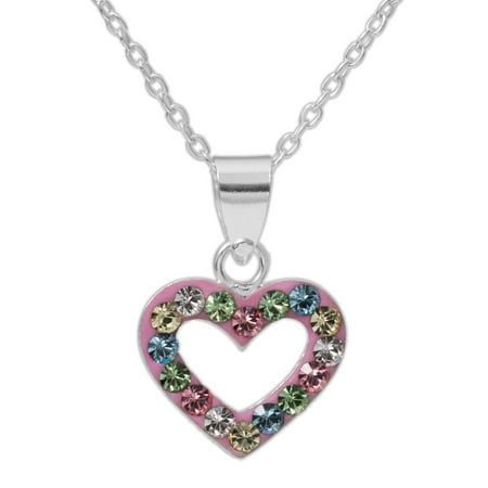 Girls' Multi-Crystal Accent Sterling Silver Heart Pendant, 18