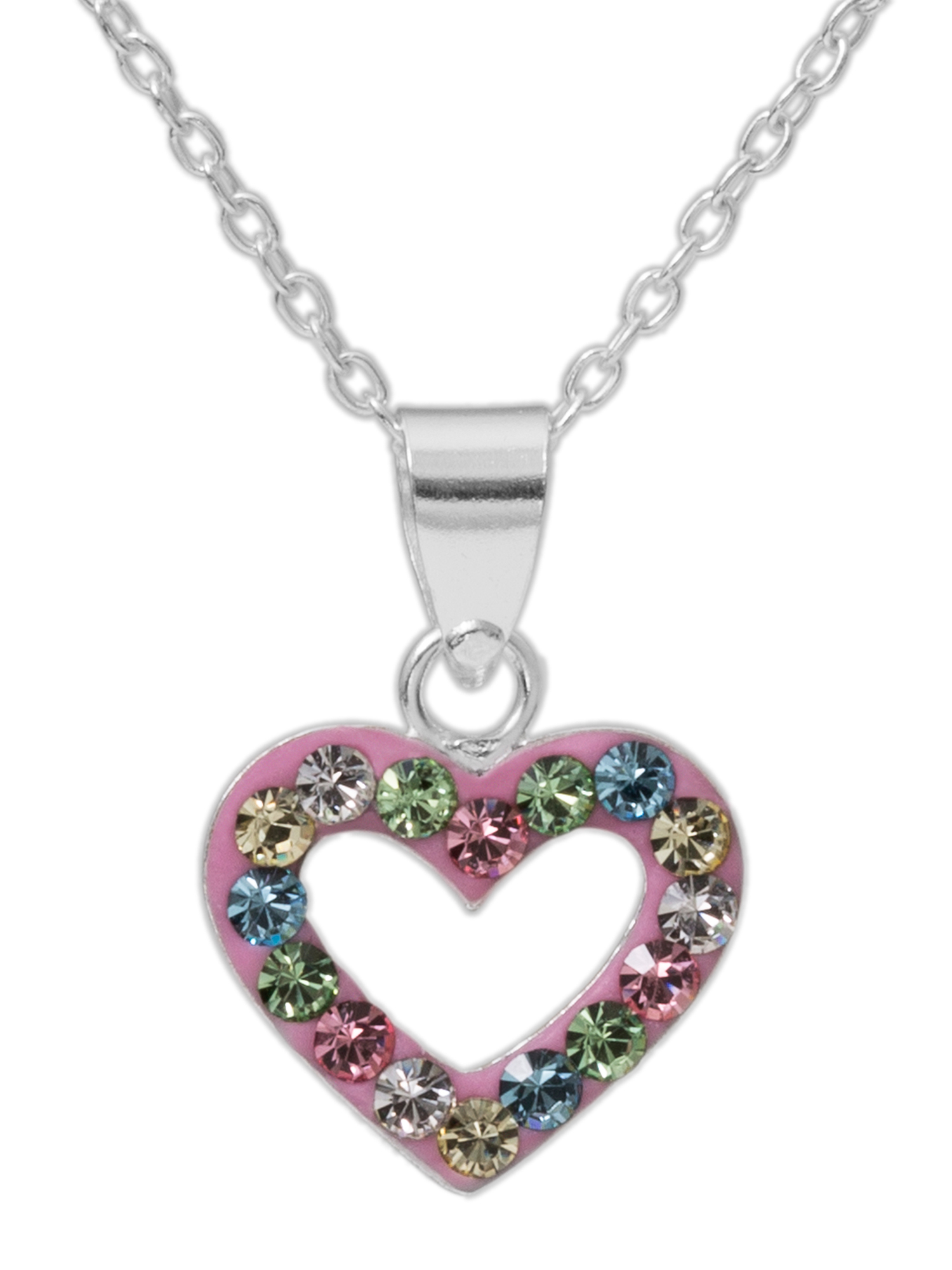 Girls' Multi-Crystal Accent Sterling Silver Heart Pendant, 18""