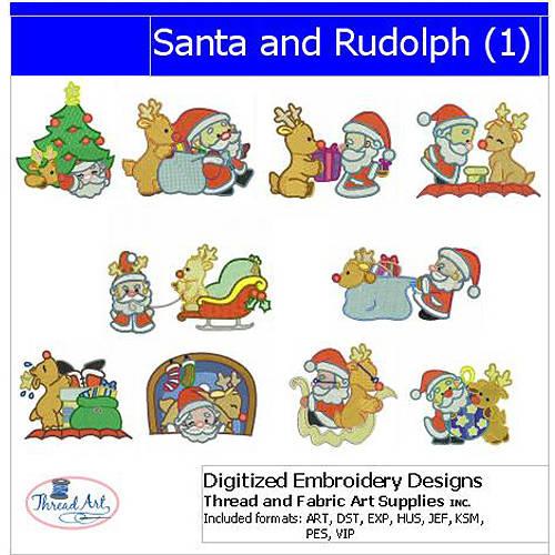 Threadart Machine Embroidery Designs Santa and Rudolph(1) CD