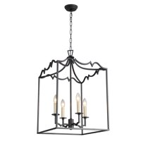 4 Light Candle Style Chandelier in Aged Iron finish