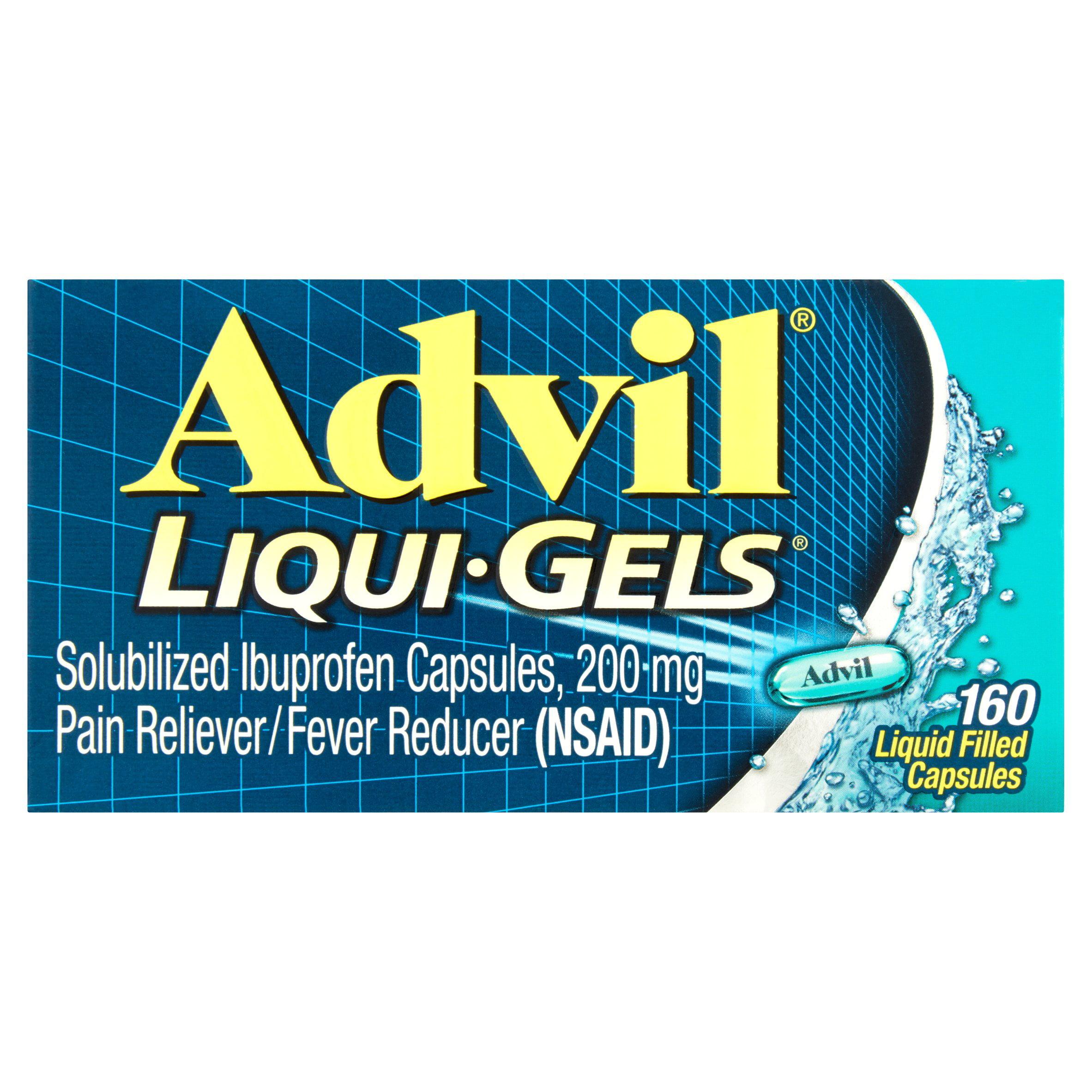 Advil Liqui-Gels (160 Count) Pain Reliever / Fever Reducer Liquid Filled Capsule, 200mg Ibuprofen, Temporary Pain Relief