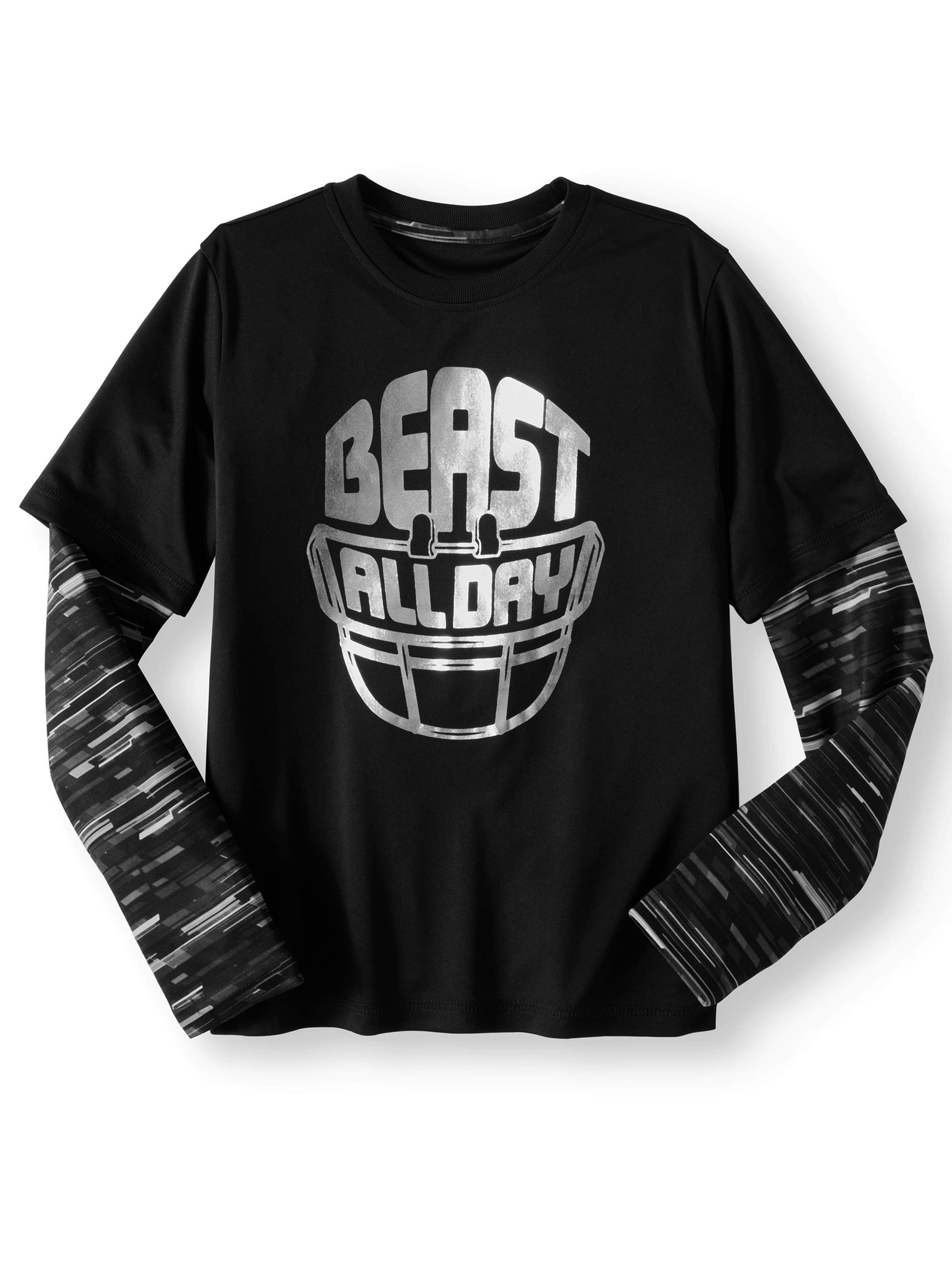Athletic Works Boys Long Sleeve Hangdown Graphic Tee Shirt