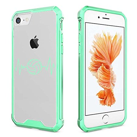 buy popular 8821c 59827 For Apple iPhone Clear Shockproof Bumper Case Hard Cover Heart Beats  Volleyball (Mint for iPhone 8 Plus)