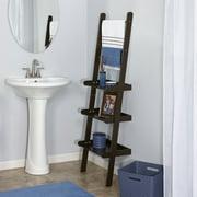 RiverRidge 3 Tier Ladder Shelf for Bathroom Storage with Towel Rack, Expresso