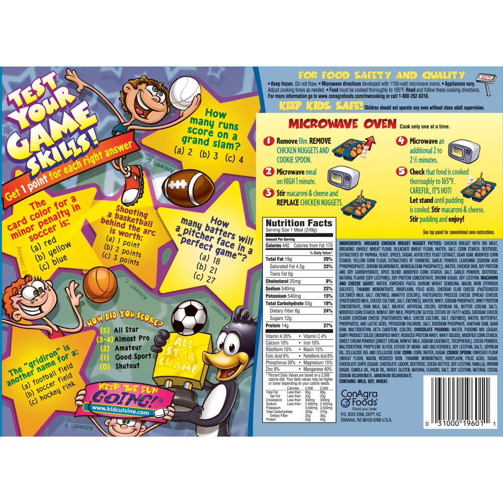 KID CUISINE Bikini Bottom Chicken Breast Nuggets Meal With